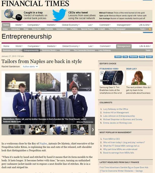 3a36a367fc72e Financial Times elogia la sartoria partenopea - CorrieredelMezzogiorno.it